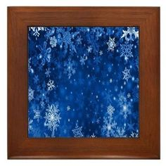 Snowflakes_Background_Texture Framed Tile