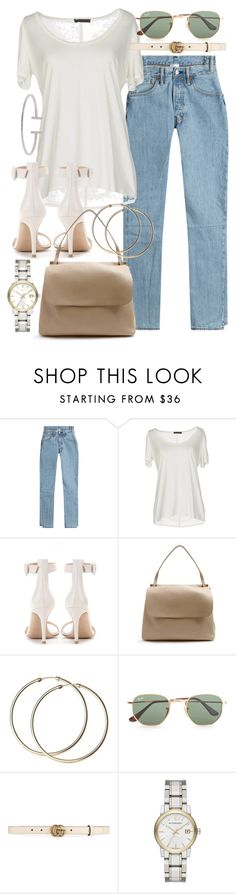 """""""Untitled #21066"""" by florencia95 ❤ liked on Polyvore featuring Vetements, The Row, Gianvito Rossi, Ray-Ban, Gucci, Burberry and Humble Chic"""