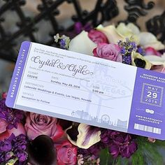 Las Vegas boarding pass wedding invitation for Crystal and Clyde married at @lakesideweddingslv. Photo by @cashmanphoto.