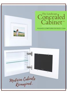 The Landscape Concealed Cabinet from Fox Hollow Furnishings! A picture frame medicine cabin Secret Space, Diy Home Improvement, Bath Remodel, Home Repair, Home Projects, Home Remodeling, Medicine Cabinet, Picture Frame, House Plans