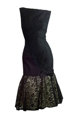 vintage Ebony Black Lace Mermaid Hem Cocktail by DorotheasCloset, $220.00
