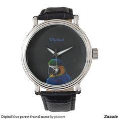 Digital blue parrot fractal name wrist watches