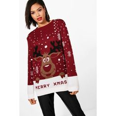 Boohoo Hannah I Love Xmas Reindeer Christmas Jumper (130 NOK) ❤ liked on Polyvore featuring tops, sweaters, sequin christmas sweater, red christmas sweaters, xmas sweaters, short-sleeve turtleneck sweaters and wrap sweater