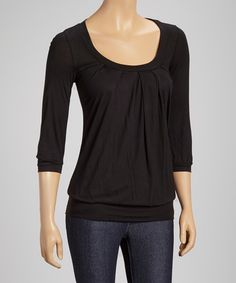 Look at this Black Scoop Neck Top on #zulily today!