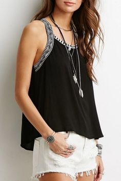 Casual Embroidery Decoration Loose Fit Tank Top OASAP.com