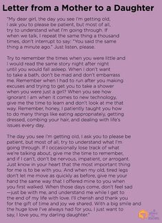 Poem: Letter from a Mother to a Daughter As our parents age, sometimes it's difficult to have patience. This beautiful letter from a mother to a daughter puts things in perspective. Now Quotes, Great Quotes, Life Quotes, Inspirational Quotes, Advice Quotes, Letter To Daughter, Mom Quotes From Daughter, Dear Daughter, Mother Daughter Poems