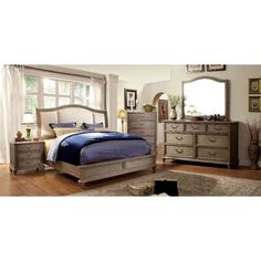 Buy Bedroom Set, 5 Piece Bedroom Set, Home Bedroom, Bedroom Furniture Stores, Furniture Deals, Home Decor Furniture, Grey Furniture, Cushion Headboard, Headboard And Footboard