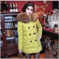 2013 new fasion women winter The cow's dream hooded solid color down jacket double breasted medium-long parka female free ship
