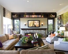 Floating shelves next to fireplace family room contemporary with ...