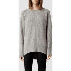 AllSaints Walkon Sweater (155 CAD) ❤ liked on Polyvore featuring tops, sweaters, stitch sweater, chunky sweaters, loose fitting sweaters, cut loose tops and loose fit tops