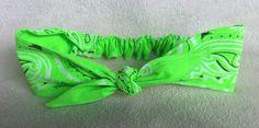 Neon Lime Green Bandana Rockabilly Top Knot by GypsieStitch