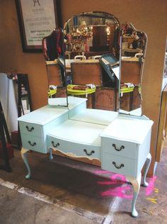 Gorgeous restored Robins Egg blue Queen Anne dressing table $565  Stall H31, Waverley Antique Bazaar 11a Aristoc Road, Glen Waverley