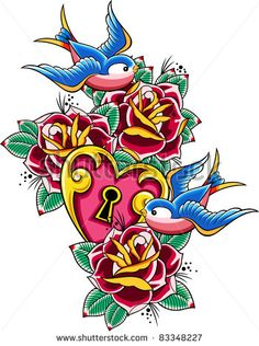 sparrow and rose skull tattoo | swallow and rose heart design - stock vector