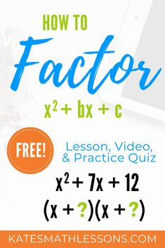 Need help factoring a quadratic expression? This free algebra lesson includes lots of examples, a video, and a practice quiz with instant feedback! Algebra Lessons, Algebra Activities, Teaching Math, Math Resources, Algebra 2, School Resources, Classroom Resources, Math Games, Teaching Ideas