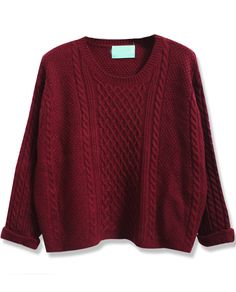 Wine Red Batwing Long Sleeve Cable Knit Sweater