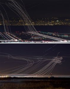 Photographer Terence Chang took these fascinating long exposure photos in the skies above San Francisco International Airport