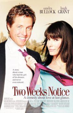Two Weeks Notice - Sandra Bullock, Hugh Grant, Alicia Witt Romantic Comedy Movies, Romance Movies, Comedy Film, Romance Books, Old Movies, Great Movies, Vintage Movies, Excellent Movies, Two Weeks Notice Movie