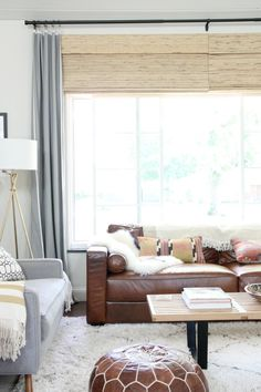 Mix a beautiful natural leather with textured cushions and fabrics - lovely!