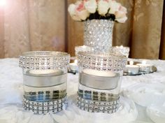 Rhinestone candle votives10 Rhinestone candles by EventbyEunice, $18.00