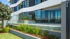 Glass Balustrade in your garden. Glass Pool Fencing, Pool Fence, Glass Balustrade, Curved Glass, Splashback, Facade, Concrete, Australia, Windows