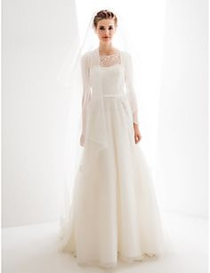 A-line/Princess Wedding Dress - Ivory Sweep/Brush Train Jewe... – USD $ 399.99