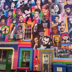 Side wall of a pub in Brighton just down from the station. Covered in iconic pictures of artists actors and icons of our time. Bold colours and just makes you look.