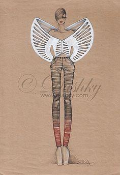 Fashion Drawings Skeleton-Skeletoff Collection - illustrations - by Dushky Fashion Model Sketch, Fashion Design Sketchbook, Fashion Design Drawings, Fashion Sketches, Avangard Fashion, Architect Fashion, Estilo Hipster, Kunst Inspo, Geometric Fashion