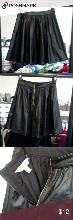 Decree faux leather black pleated short skirt Decree faux leather black short skirt. Sooo CUTE!! Size XS. Waist band measures 23in. Meant to be worn high waisted! Like new condition. Check my closet for more! Decree Skirts Mini