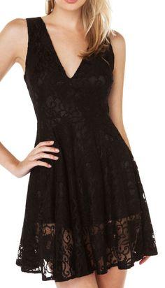Six Crisp Days Women's Deep V Lace Dress