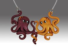 Octopus Love Necklace on Etsy by PrettyInPolymer $45