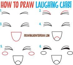 How to Draw Happy / Smiling / Laughing Chibi Expressions and Emotions Easy Steps Drawing Tutorial for Beginners Drawing tutorial Drawings Eye drawing