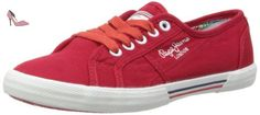 Pepe Jeans  ABERLADY, Baskets pour femme Rouge Rot (245REDWOOD) 36 - Chaussures pepe jeans (*Partner-Link)