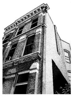 3 Point Perspective, Perspective Drawing, Dotted Drawings, Hand Drawings, Stippling Drawing, Building Drawing, Pointillism, Art And Architecture, Art Inspo