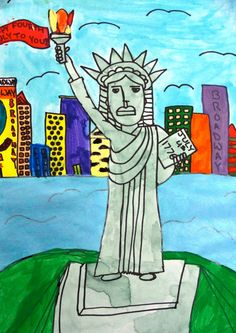 Deep Space Sparkle – Statue of Liberty Art Lesson