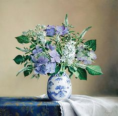 Hydrangea and Paper Blue flowers