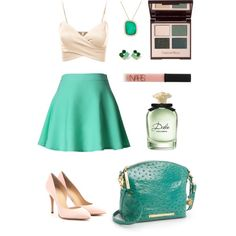 A fashion look from December 2014 featuring J.TOMSON tops, Chicwish skirts and Charlotte Olympia pumps. Browse and shop related looks. Green Skater Skirt, Chicwish Skirt, Patent Shoes, December 2014, Charlotte Olympia, Blue Green, Fashion Looks, Pumps, Skirts