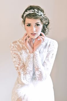 Enchanted Atelier {Mary} Swarovski Crown/Headband. Inspired by the Downton Abbey diamond headband. Image Credit: Emme Wynn Photography; MUA: Liz Wegrzyn; Model: Leanne Hyer; Gown: Vintage
