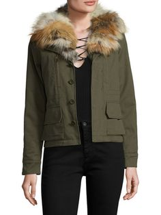"Willow Fur Trimmed Jacket by LOVE TOKEN // take 30% off with code ""COLD30"""