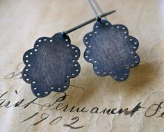 Sterling Silver Eyelet Lace Earrings by kathiroussel on Etsy, $72.00