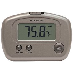 AcuRite 00888A2 Indoor/Outdoor Digital Thermometer by Chaney Instruments. $10.33. Easy-to-read digital display with push-button backlight. Wired digital indoor and outdoor thermometer. Displays minimum and maximum temperatures in Fahrenheit or Celsius. Weather-resistant 10-foot cable monitors outside conditions. Tabletop or wall-mountable design. This thermometer features precise, reliable temperature readings using a weatherproof and water resistant sensor probe. The bold, easy ...
