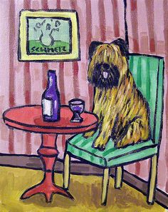 BRIARD art PRINT poster from new abstract DOG oil painting JHS 8x10 WINE
