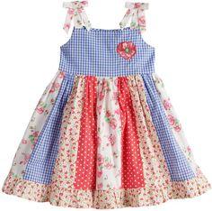 76613d8cdb4 Toddler Girl Blueberi Boulevard Print Pieced Sundress Toddler Dress