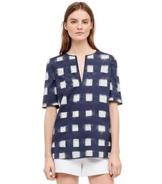POPLIN RELAXED TUNIC  - TORY NAVY ANTIBES A