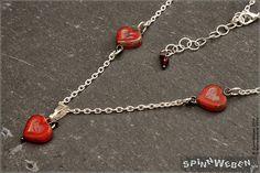 New Be My Valentine Heart Bead Chain  Czech Glass Heart