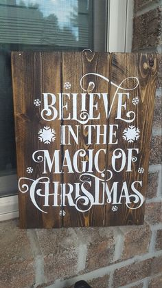 Believe Rustic Wood Sign, Christmas Tree, Snowflake, Reindeer ...