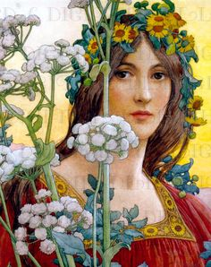 Gorgeous Flower Crowned Art Nouveau Lady by DandDDigitalDelights