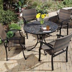Home Styles 5 Piece Dining Set with Stone Harbor Table and Newport Slope Armchairs, Black/Slate