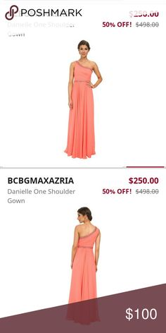 NWT BCBGMaxAzria Danielle Gown // Prom NWT BCBGMaxAzria Danielle // gorgeous pink coral, chiffon gown // trimmed with sparkling crystals // Great for prom, wedding or formal event! BCBGMaxAzria Dresses Prom