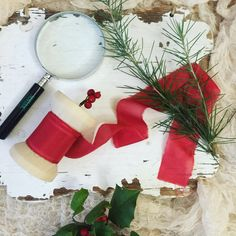 Red  Christmas color   Silk Ribbon Hand by WeddingGalleryDesign
