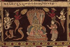 Detail: Babhurvahana in the kingdom of the snakes. Cotton cloth, painted in brown, beige, black, red and blue on a natural ground, depicting a Hindu story with human figures involved in different actions along each of eight strips and in a rectangular centre panel.